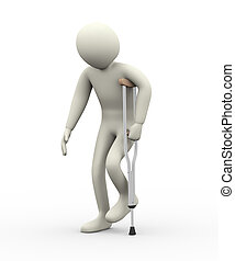 3d man walking with crutch - 3d illustration of person...