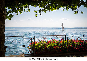 Sailboat on Lake Constance - A small sailing ship from the...