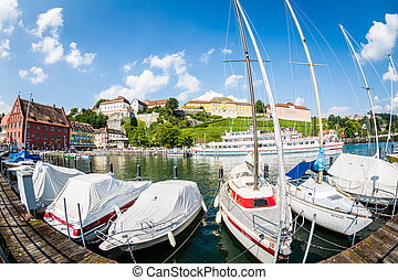Yacht port of Meersburg - View from the marina in the...