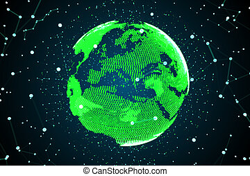 High technology globe. Concept of web and communication