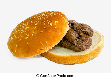 Shit burger - A shit burger. Fast food is a garbage concept