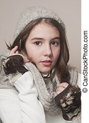 Cute girl winter style, studio shot - Fashionable Teenage...