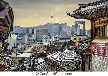 Seoul, South Korea Historic Distric and Skyline - Seoul,...