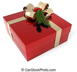Christmas present - gift box adorned with a sprig of...