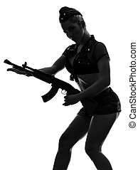 sexy woman in army uniform holding kalachnikov silhouette -...