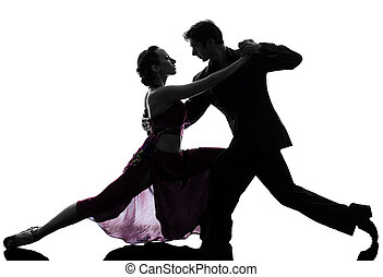 couple man woman ballroom dancers tangoing  silhouette