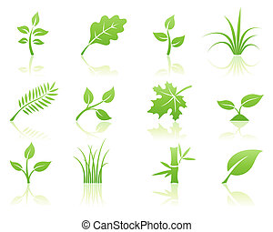floral icon set - illustration of green ecology nature...