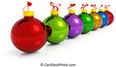 colored christmas baubles - row of colored christmas balls...