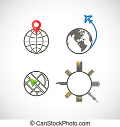 Globe icons collection - Vector icons collection