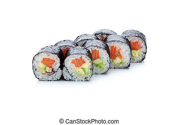 Sushi roll - set of sushi rolls with salmon on white...
