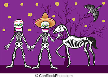 mexican skull at nigth - Is a EPS Illustrator file