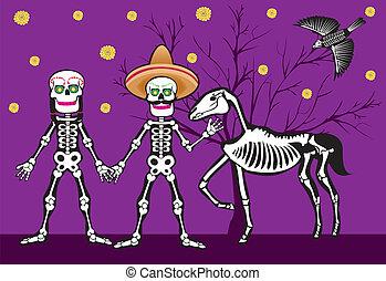 Meksykanin, czaszka, nigth