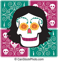 woman mexican skull