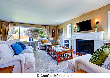 Beautiful living room interior with cozy fireplace - Soft...