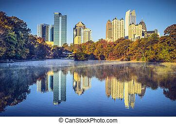 Atlanta, Georgia, USA midtown skyline from Piedmont Park.
