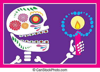 skull of sugar with candle - Is a EPS Illustrator file