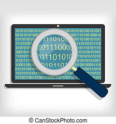 Searching bytes in laptop - A magnifying glass searching and...