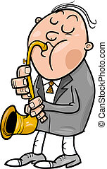 man with saxophone cartoon illustration - Cartoon...