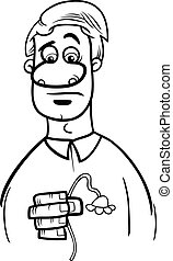 sad man cartoon coloring page - Black and White Cartoon...