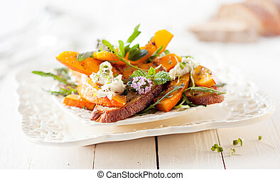 Gourmet Pumpkin Salad with Roasted Hokkaido and Grilled...