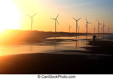 Windfarm - Sunset windfarm on Brazilian beach.