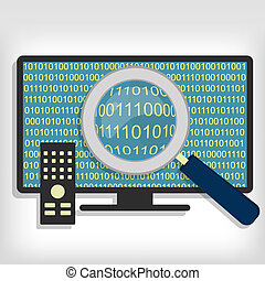 Searching bytes in smart tv - A magnifying glass searching...