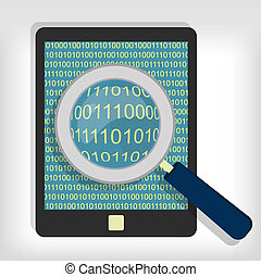 Searching bytes in tablet - A magnifying glass searching and...