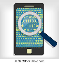 Searching bytes in smartphone - A magnifying glass searching...