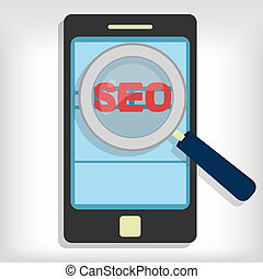 Seo optimization in smartphone - Magnifying glass focusing...