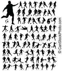 football - Black silhouettes of football players, vector