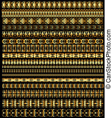 set of borders ornament of gold