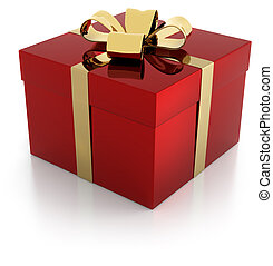 red gift parcel with golden ribbon - one red gift parcel...