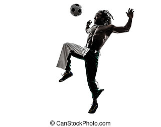 black man soccer player juggling football silhouette