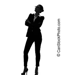 business woman standing looking up silhouette