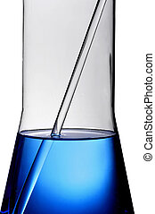 laboratory flask with a blue liquid