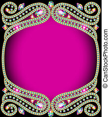 background frame with gold and precious stones -...