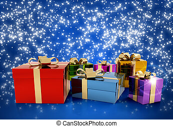 Christmas Eve - set of colored gift packages on starry...
