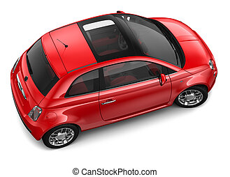 Red car - top angle - Red car on a white background