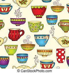 Seamless tea pattern with doodle teapots and cups. -...