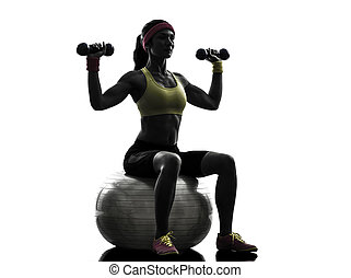 woman exercising fitness ball weight training silhouette -...