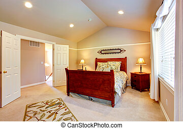 Light bedroom with vaulted ceiling - Light tones bedroom...