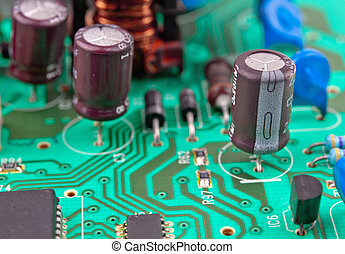 electrical circuit - green electrical circuit board with...