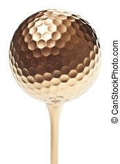 gold golf ball isolated on a pure white background