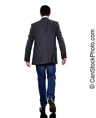business man walking rear view silhouette - one caucasian...