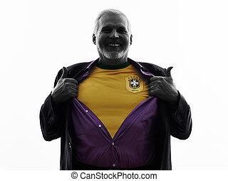 senior Brazilian supporter fan man silhouette