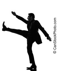 extreme right wing man marching silhouette - one caucasian...