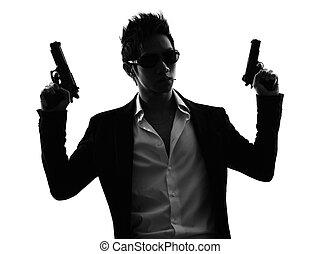 asian gunman killer portrait silhouette - one asian gunman...