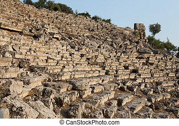 Kaunos amphitheatre in Dalyan Town, Turkey