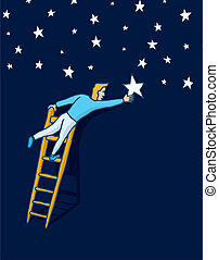 Reaching the stars with a ladder - Cartoon illustration of...