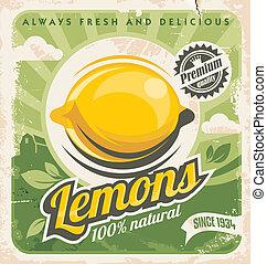 Lemons - Retro poster design for lemon farm